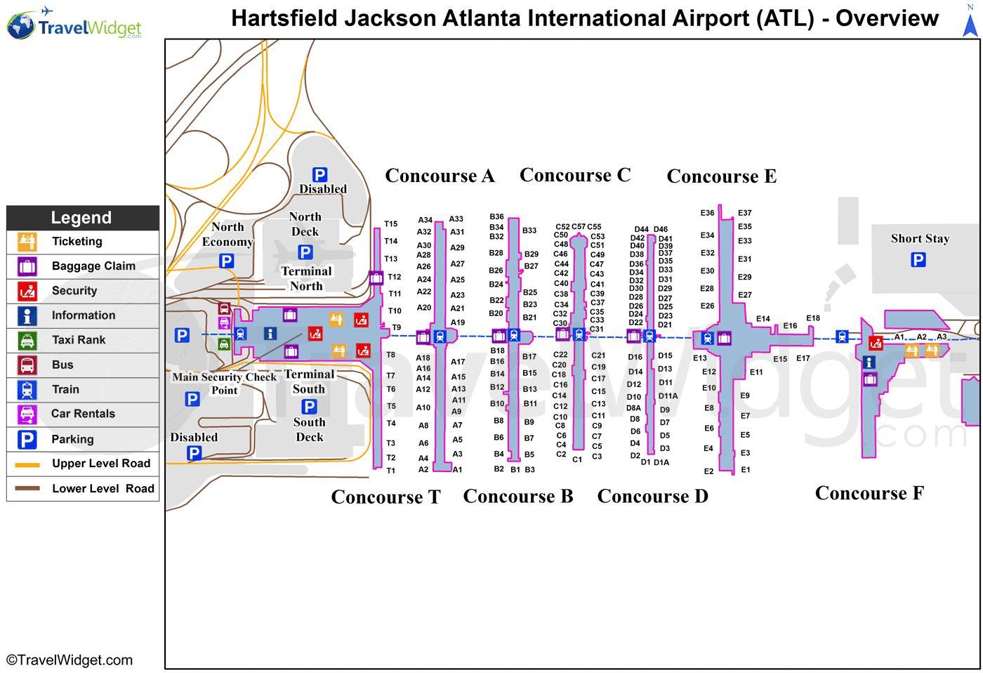 Atlanta Airport Map Map Of Hartsfield Jackson Atlanta - Georgia usa airports map