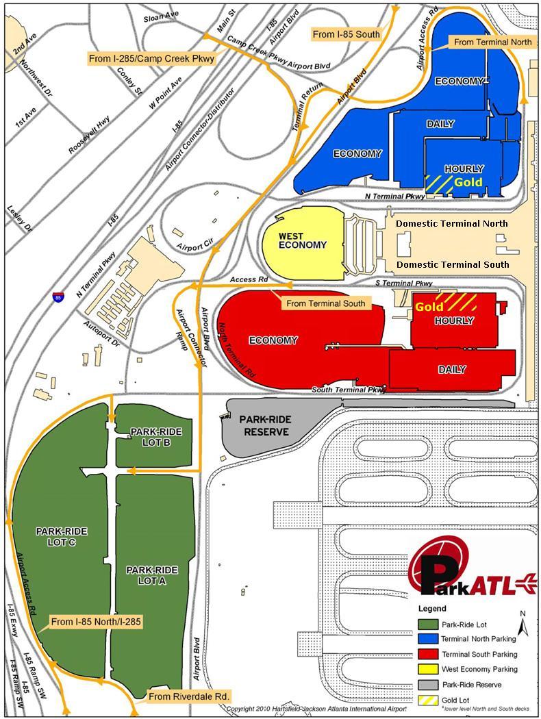 Parking At Austin Airport >> Atlanta airport parking map - Atlanta Hartsfield airport parking map (United States of America)
