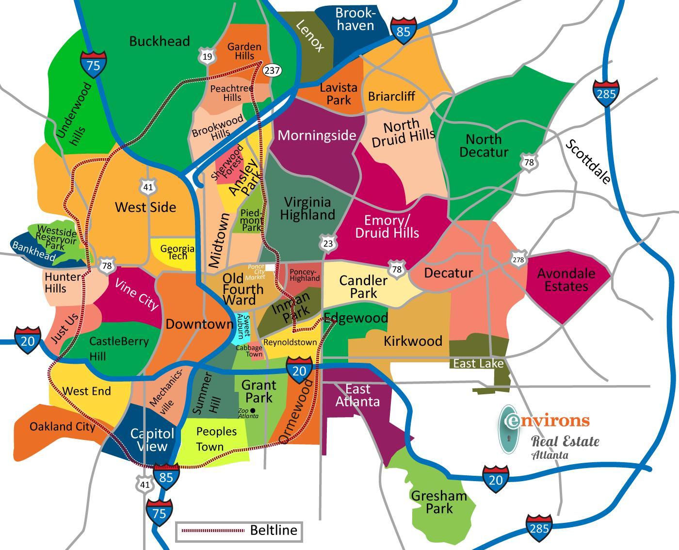 Atlanta neighborhood map Map of Atlanta neighborhoods United