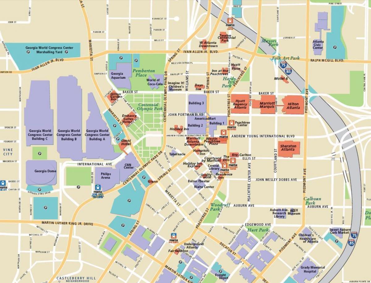 Atlanta attractions map - Atlanta tourist attractions map (United ...